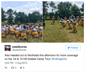 WSLS 10 covers high school football camps.