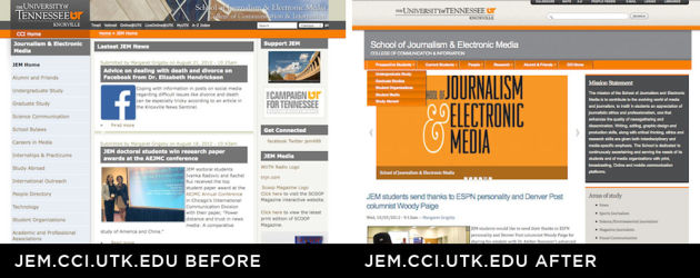 School of Journalism and Electronic Media Website  Before and After
