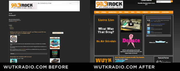 WUTK Radio Website  Before and After